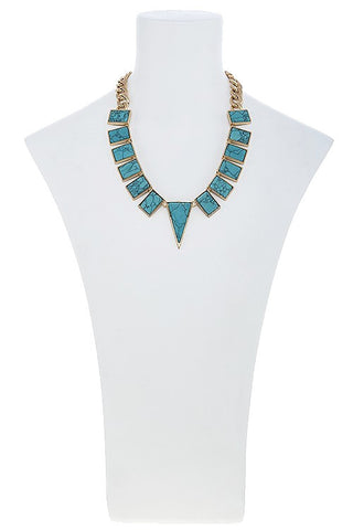 turquoise plated triangle necklace