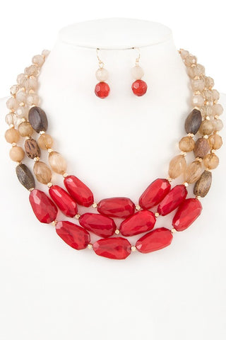 natural agate set in red