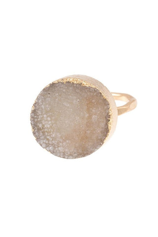 sculpted druzy in gold