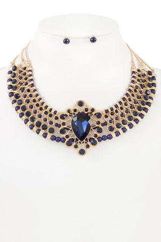 sapphire  studded collar necklace