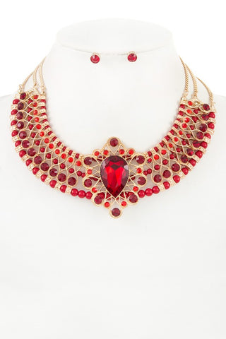 ruby studded collar necklace
