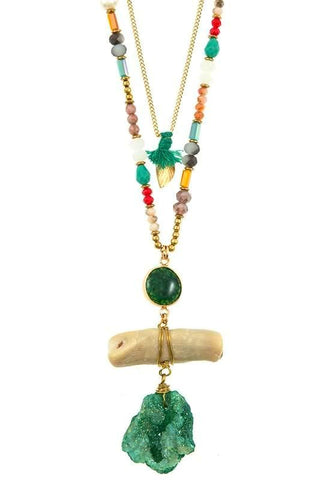 emerald bermuda sculpt necklace