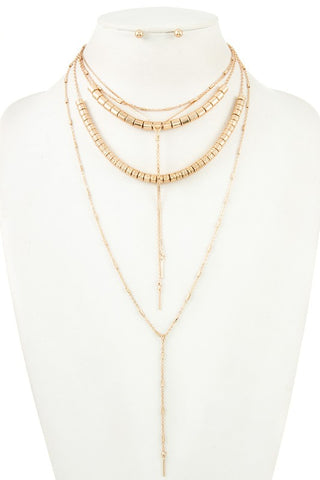 gold chain barrel layered necklace