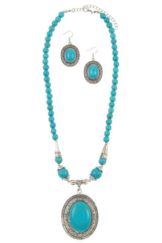 say it in turquoise medallion