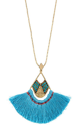 long beaded fan pendant
