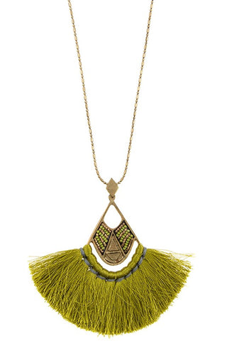 silk fan tassel drop in olive