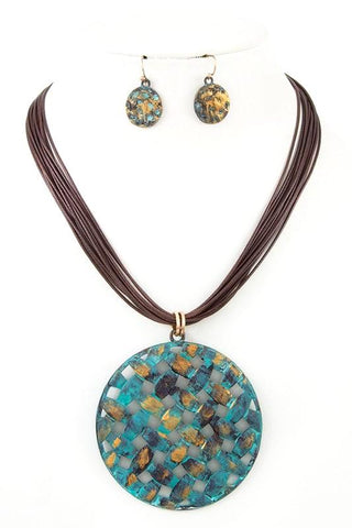 patina quilted pendant set