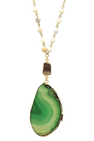 natural agate pendant in green