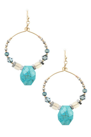 faceted gem hoops in turquoise