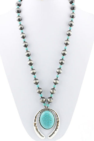 navajo pearl and turquoise pendant