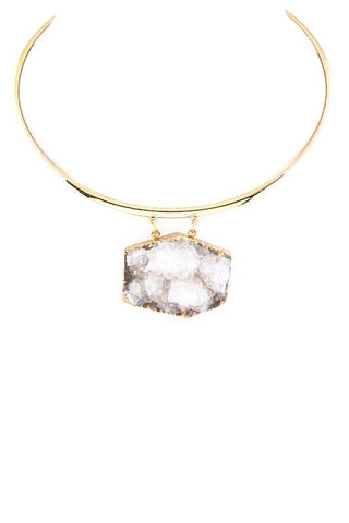 high polished druzy collar