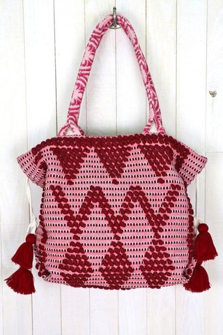 hand woven strawberry carpet tote