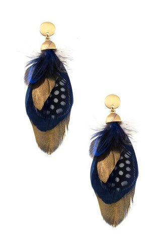gold dipped feathers in navy