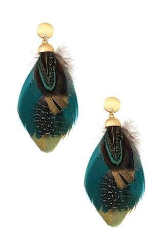 gold dipped feathers in teal
