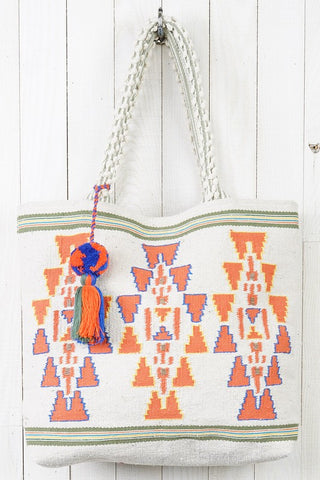 tribal cotton rope tote
