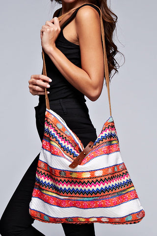 tribal motif cross body tapestry tote
