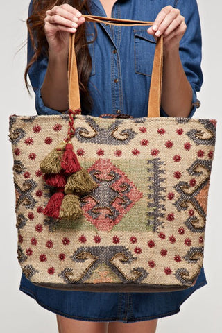 paisley brocade oversized tote