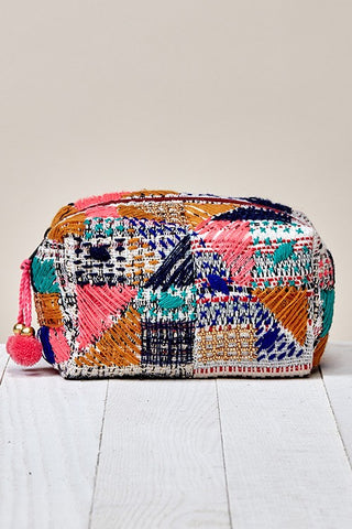 multi beaded patchwork makeup bag
