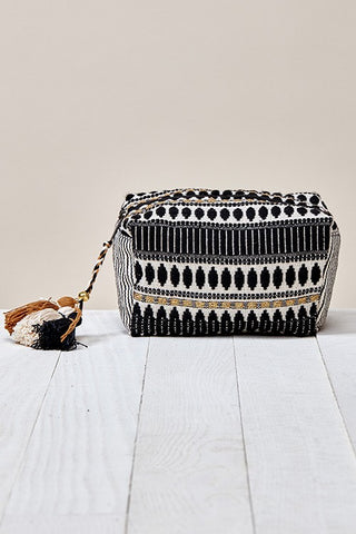 black & white jacquard makeup bag