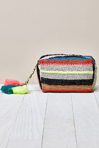 multi striped origami makeup bag