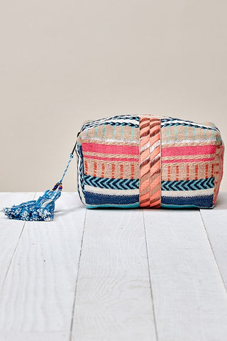 multi striped makeup bag