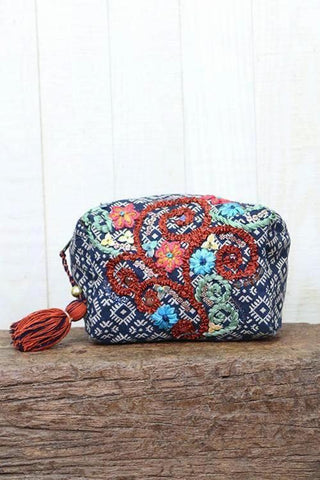 flower embroidered make up bag