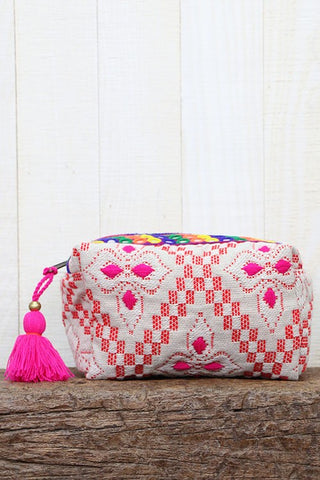 ikat patchwork metallic make up bag