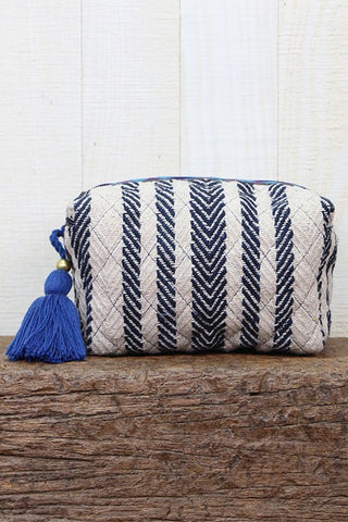 multi striped make up bag