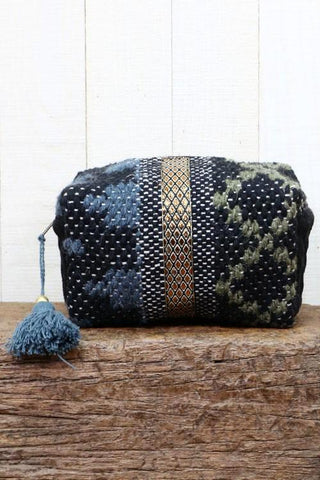 blue aztec makeup bag