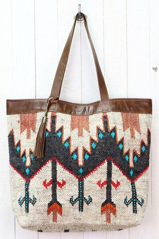 navajo hand embroidered leather tote