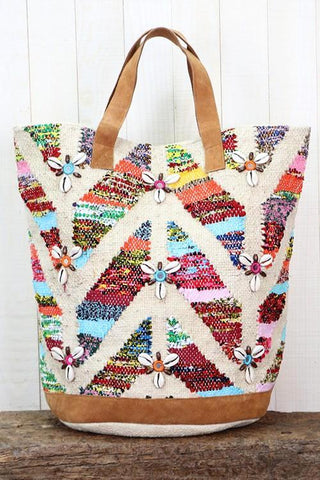 multi colored suede tote