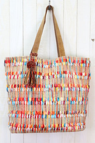 colorful space dyed pattern tote