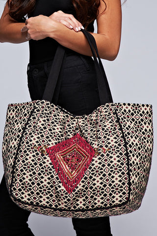 oversized diamond motif tote
