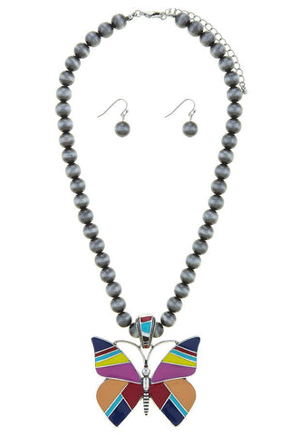 navajo pearl butterfly necklace