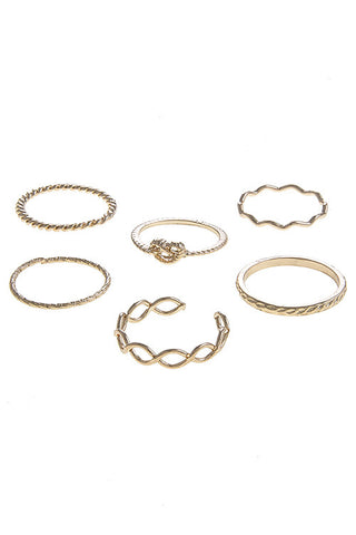 knotted in gold ring set