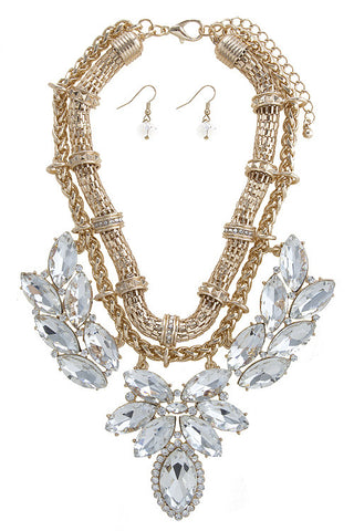 marquise crystal cluster set