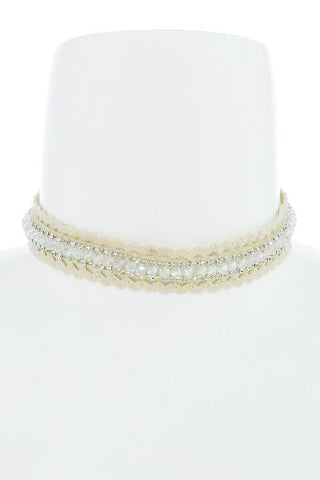 crystal lace choker