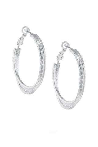 intertwined silver hoops