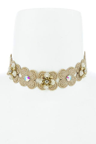 flirty crystal flower choker