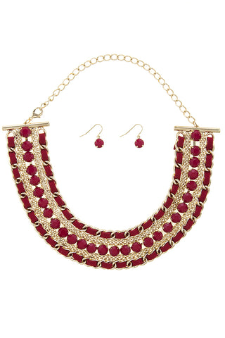 ruby suede chain link