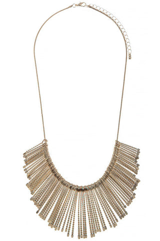 etched in gold fringe necklace
