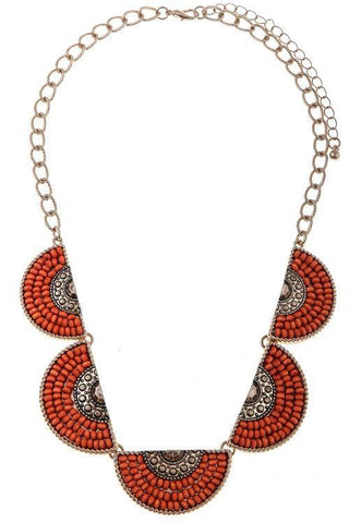 beaded crescent set in red