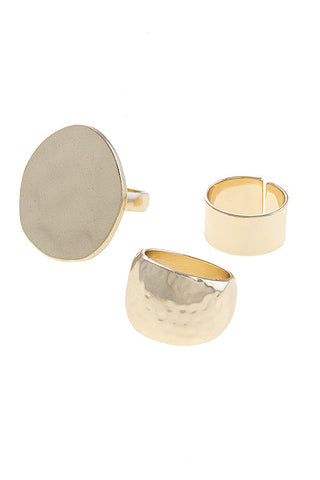 hammered ring set in gold