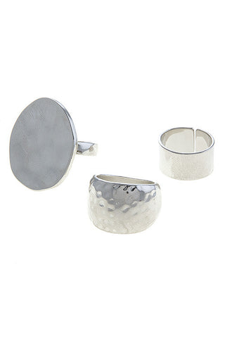 hammered ring set in silver