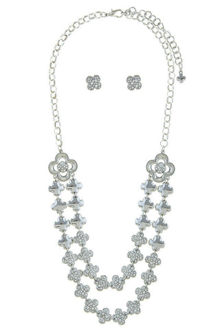 crystal clover in silver set