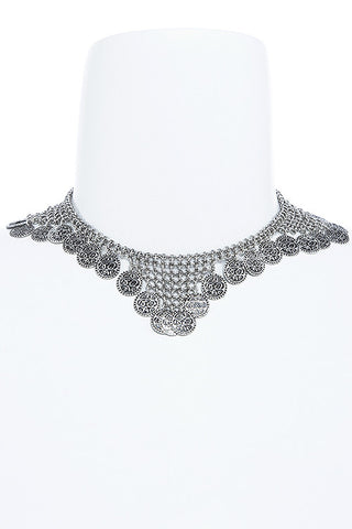 etched coin fringe collar