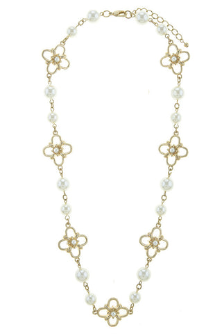 floral pearl necklace set