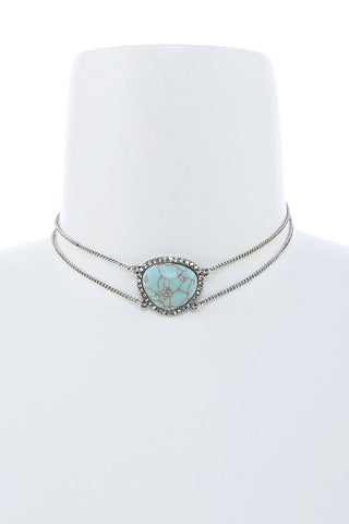turquoise stone choker in silver