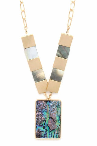 abalone squared pendant
