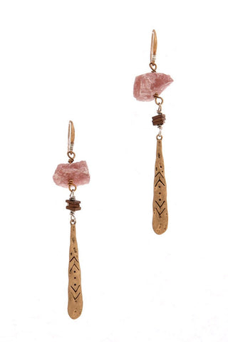 pink agate hammered dangles